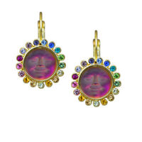 Kirks Folly Rainbow Memories Seaview Moon Leverback Earrings (Goldtone)