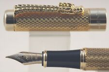Jinhao No. 1200 Gold Chiselled Dragon Medium Fountain Pen with Gold Trim