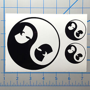 "Wu Tang Yin Yang 5"" & 2"" Black Vinyl Decal Sticker Set"