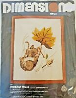 1977 Dimensions Windblown Mouse Crewel Embroidery Kit Vintage Wool 1030