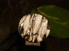 Hübscher 925 Sterling Silber Ring Rund Scheibe Knitter Optik Groß Elegant