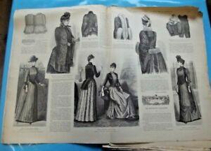 Ancienne Revue de Mode Illustrée 1889 n°40 avec son patron Robe en cheviotte