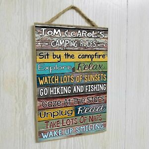 "Personalized Camping Rules Sign 10.5""x7"" CUSTOM Camper Plaque RV Wall Decor"