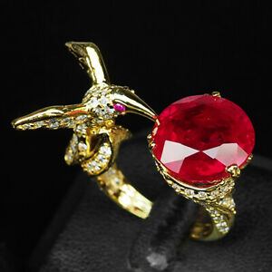 RUBY BLOOD RED ROUND 13.10CT.SAPPHIRE 925 STERLING SILVER GOLD RING SZ 7.75 BIRD