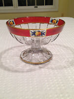 RARE Vintage HEISEY GLASS Footed Hand-Painted Ruby-Stain Fruit Bowl Compote