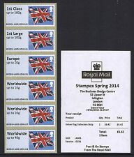 2014 FEB FLAGS A005 Ma13 CODE STAMPEX POST & GO COLLECTORS STRIP OF SIX