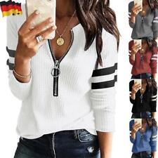 Damen Reißverschluss Langarm T-Shirt Bluse Freizeit V-Neck Tunika Oberteile Tops