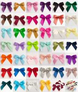 5cm Self Adhesive Pre Tied Satin Bows 16mm Ribbon in Packs of 6 or 12