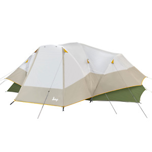 Camping Dome Tent 8 Person 2 Room Hybrid With Full Fly Off White Green 16 x 9 Ft