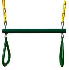 Gorilla Play sets 17 in. Trapeze Bar with Ring in Green and Yellow