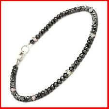 19.+ CT BLACK MOISSANITE & RAW NATURAL DIAMOND BRACELET BEADS .925 SILVER CLASP