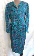 Adrianna Papell Silk suit green blue raspberry skirt & jacket nwt size 4 6