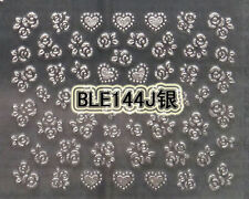 Silver Glitter Roses Hearts 3D Nail Art Stickers Decals UV Acrylic Decoration