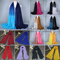 Womens Sparkle Crinkle Long Scarf Stole Shawl Warm Wrap  Soft Silk Voile Scarves