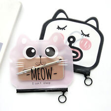 Cute Cartoon Cat Shape Transparent PVC Zipper Pen Bag Pencil Case For Girls Kids