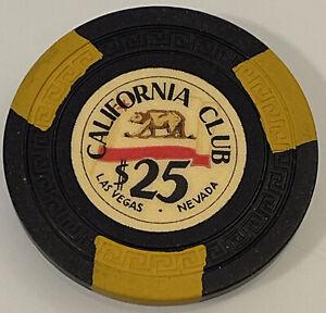 1950's CALIFORNIA CLUB $25 Casino Chips Las Vegas Nevada 3.99 Shipping
