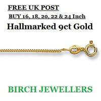 9ct Gold Curb Chain Necklace Solid 1mm Hallmarked, For Pendant New