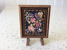 Dolls house miniature 1:12 STUNNING needlepoint fire screen fireguard