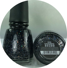 China Glaze Nail Polish * COSMIC 806 Black w Silver Holographic Sparkle Lacquer