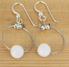 Ohrhänger  - Edelstein weiße  Jade   in Kugelform  - 925 Silber