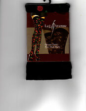 LEG AVENUE 6282 BLACK OPAQUE CHERRY PRINT THIGH HIGHS WT:  90-160 LBS