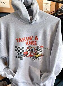 Takin a Knee motorcycle biker racing grey hoodie pullover with kangaroo pouch