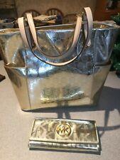 Michael Kors Gold Metallic Signature Monogram Tote Bag & Wallet