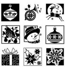 Inkadinkado Cling Rubber Stamp Set Holiday Inchie Squares Tiles Winter Theme