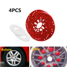 4xRed Aluminum Alloy Car Wheel Brake Disc Cover Decorative Rotor Cross Drilled