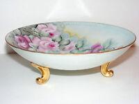 "Antique Porcelain 9"" Footed Bowl with Flowers Floral Design Marked Bavaria T4"
