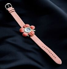 SUZANNE SOMERS PINK FLOWER WATCH WITH RHINESTONES AND LEATHER STRAP.