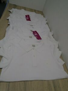 TU Joblot (8) of Girls white short sleeve school polo tops age 12 years NEW