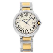 Cartier Ballon Bleu Guilloche Dial de plata oro 18K de Acero Hombres Reloj W2BB0022