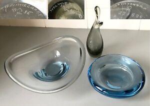 Vintage 50's 60's HOLMEGAARD Denmark ART GLASS PIECES x 2 - Per Lutken SIGNED