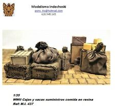 WWII 1/35 Resina boxes and bags food supplies cajas y sacas comida