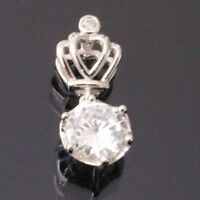 1 Ct Round Cut Solitaire Diamond Pendant Crown Jewelry SOLID 14k White Gold Gift