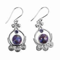 Jewelry 925 Silver Earrings Women Purple Vintage Charoite Dangle Drop Hook
