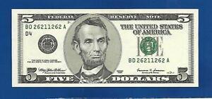 TWO $5 FANCY RADARS SAME SERIAL #DK26211262A & #BD26211262A