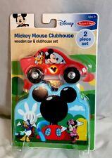 Melissa & Doug Disney Mickey Mouse Wooden Car & Clubhouse Set A6