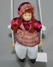 "Girl Doll 8"" Made Of Porcelain Hanging On A Swing 16.25"" Miniature"