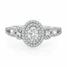 3/4 Ct Oval & Round Natural Diamond Halo Engagement Ring In 14K White Gold
