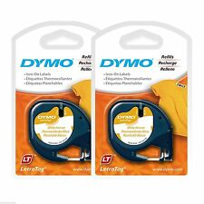 "2PK New Dymo Letra Tag 18771 IRON-ON 1/2"" LetraTag Labels for Clothing & Fabric"
