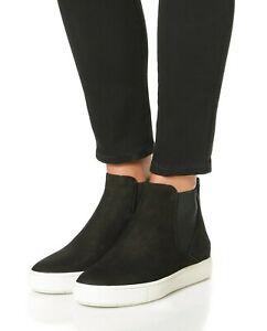 NIB Vince Newlyn Suede High-Top Slip On Sneakers, Black $295