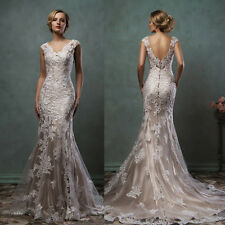 New White Lace V-Neck Mermaid Wedding Dresses Custom Eleagant Bridal Gown