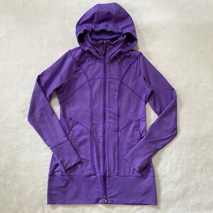 Athleta Rishi Hooded Jacket Womens Small Purple Long Sleeve Full Zip Ruched