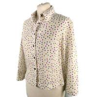 Hobbs Size 12 White Linen Polka Dot Spotty Blouse Shirt Casual Office Work