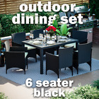 Rattan Garden Dining Set Furniture Table Chairs Outdoor 6 Seater Patio Black