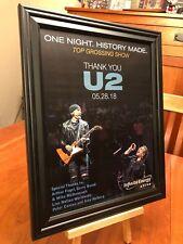 "BIG 10x13 FRAMED U2 ""LIVE IN ATLANTA 2018"" CONCERT LP ALBUM CD PROMO AD + bonus!"