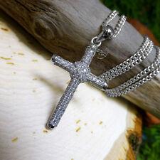 Round Cubic Zirconia Cross Pendant .925 Silver Necklace