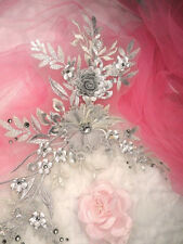 """Embroidered 3D Applique Silver Metallic Floral Sequin Ballet Patch 14"""" (DH70)"""